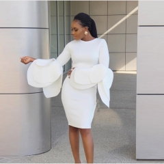 New multi-layer speaker sleeve sleeves sexy sexy dress petals long sleeves pure color smooth women white s