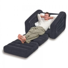 Luxury single inflatable sofa lazy sofa bed fashion inflatable bed inflatable folding chair Gray+inflator pump