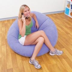 Loving life Lazy bones Inflatable sofa Convenient Leisure Lazy sofa Flocking beans purple+inflator pump