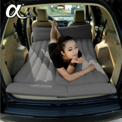 Mobile bed fashion car couple cushion decompression flocking inflatable mattress field excursion bed Gray+inflator pump