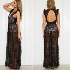 Girls new group of three-color dress optional sexy deep back V lace dress beach holiday dress women Black s
