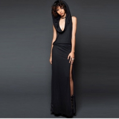 Fashion personality sexy female solid color hat backless split sleeveless dress women black s