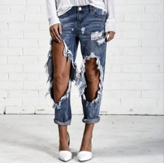 European style hip-hop jeans new girl hot style knee big ripped jeans and jeans girl Picture color s