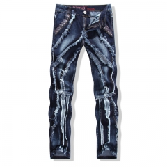 Individuality tide male straight Slim jeans high-quality Soviet side splicing trousers beggar style Dark blue 28