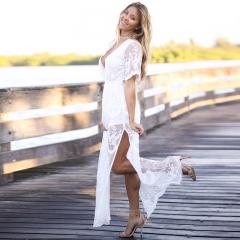 2018 new girl dress sexy lace mop long skirt European and American evening dress women Creamy-white m