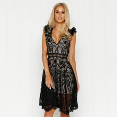 Popular design high-end v-neck splicing perspective female sexy halter lace dress lace black s