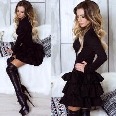 Popular design high-end autumn and winter models sexy Slim dress long-sleeved cake skirt female black s