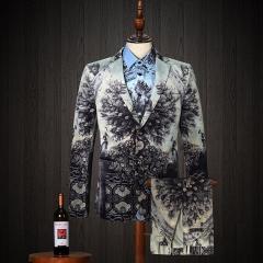 Gentleman Suit Set Men's three-piece suit catwalk men suit groom wedding dress bar gray m