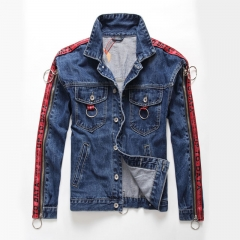 Autumn and winter new blue motorcycle jacket elements wild small steel trend jeans jacket lovers Blue m