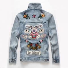 Large size exclusive new autumn and winter hole totem embroidered tide male lapel denim jacket Blue m