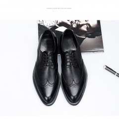 New leather shoes men shoes business shoes British dress gentleman carved casual shoes black 37