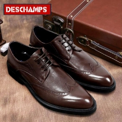 New leather shoes men shoes business shoes British dress gentleman carved casual shoes brown 40