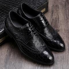 New gentleman dress shoes asakuchi business shoes crocodile pattern men's shoes leather shoes Black 37
