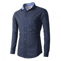 The latest fashion large size men's shirt lapel cotton plaid casual long-sleeved men's shirts Dark blue m