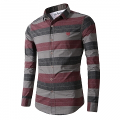 Men's fashion spell color cotton stripes casual fashion long-sleeved men's large-size shirt Gray m