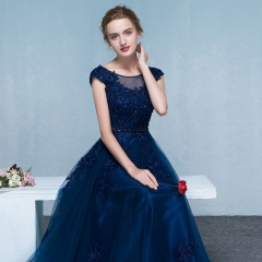 Evening dress long new banquet evening dress temperament elegant host dress female fashion Slim Navy blue s