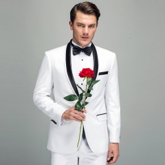 The latest high-end men's European and American style suit dress suits white satin round neck suits White 44y/28 (s)