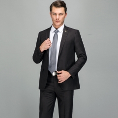 New high-end men's suits wedding party clothing Slim black striped suit two-piece suit Black 44y/28 (s)