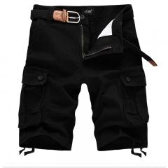 Camel shorts male multi-pocket pants pants men's daily loose men's pants tooling pants Black 38