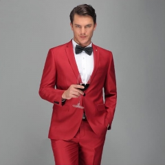 High-end gentleman banquet dress suits men's suits suit host fashion gentleman's annual meeting Red 44Y/28 (S)