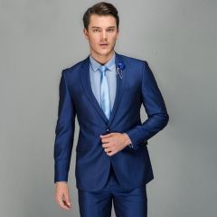 Men's latest suit dress suit two sets of bright sapphire blue two-piece suit can be customized Bright blue 44y/28 (s)
