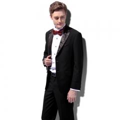 British style suit dress suit male fashion Slim black buckle satin shiny tip Milan fashion Black 44Y/28