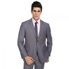 Suit suits business casual Slim large size wool suits two buckles are fitted two-piece suit Light grey 44y/28