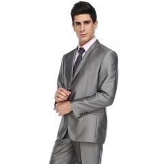 Men's dress host clothing wedding groomsmen groom service bright gray two buckle dress suit Bright gray 44Y/28