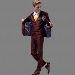2018 high-end men's suits and dresses set three-piece suit a large size Slim fashion suits Red wine 44H/28