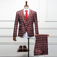 High-end men's suit dress suit three-piece red checkered buckle Slim British fashion suits Red plaid 44h/28