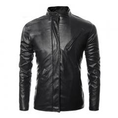 Fashion collar oblique pocket short paragraph coat men solid color personality motorcycle leather Black M