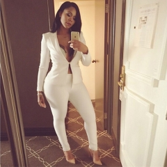 New spring and summer ladies long-sleeved casual suits white large size suit pants two-piece suit White s