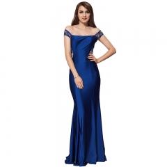 New high-quality dress women's fashion dress European station lace evening dress Blue m