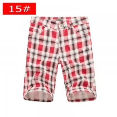 Men's new straight leg pants men's casual plaid casual pants youth fashion tide men's pants 15# 38