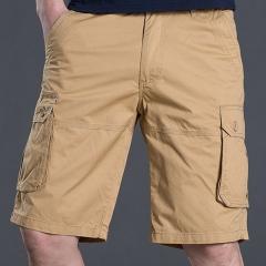 Fashion men's daily workmanship camel shorts youth cotton straight pants / pants pants men Khaki 29