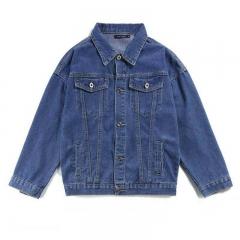 Couples fashion American style hip-hop retro models men and women loose zipper denim jacket jacket Navy blue M