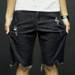 Fashion casual pants large size youth hole denim shorts cut men five minutes in summer pants Black 28