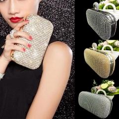 Shimmering Diamante Encrusted Evening Bag Clutch Purse Party Bridal Prom Handbag black 17cm