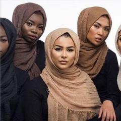 180x95cm Cotton Linen Crinkle Cloud Hijab Scarf Shawl Soft Islam Muslim colors 1#