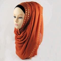 Maxi Viscose Gold Studs Hijab Shawl Scarf Wrap Muslim Headcover Wide 180x90 colors 1#