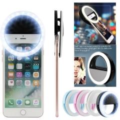 Selfie LED Light Ring Flash Fill Clip Camera For Phone & Tablet iPhone Samsung black 8.4cm