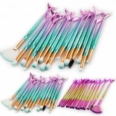 15PCS Mermaid Tail Makeup Brushes Set Foundation Blusher Eyeshadow Cosmetic green