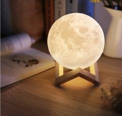 3D USB LED Magical Moon Night Light Moonlight Table Desk Moon Lamp Home Decor Multicolor 10cm