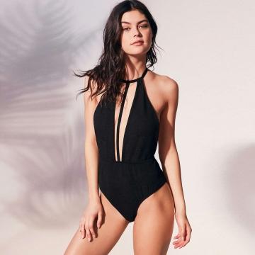 Pure color  High Waist Deep V Swimsuit Black L