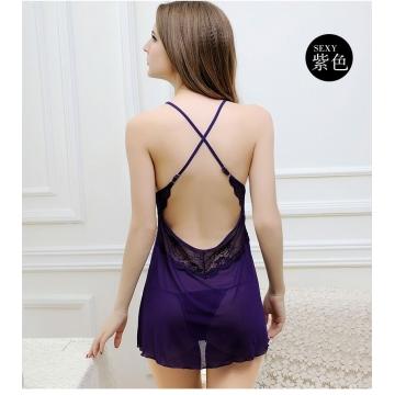 Temptation Lace Suspenders Sexy Lingerie purple XXL