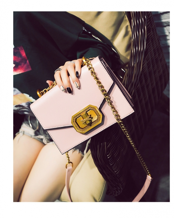 Pure color women's one-shoulder bag casual fashion bag style pack Pink one-size