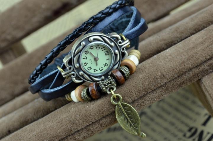 handwoven vintage watch hand-knitted vintage women's bracelet watch Black