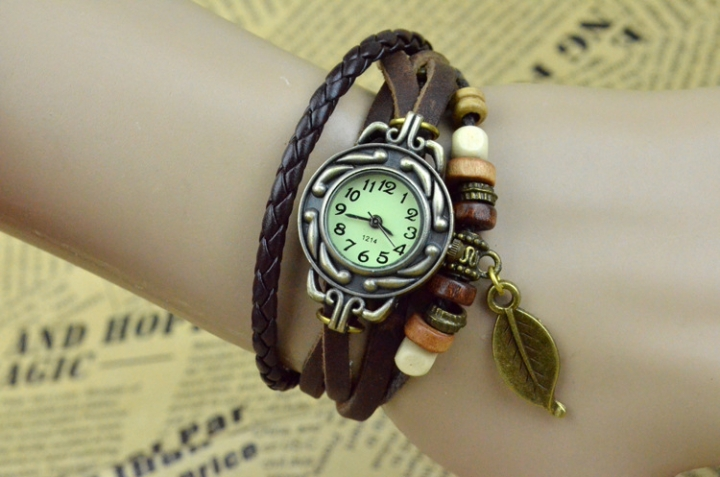 handwoven vintage watch hand-knitted vintage women's bracelet watch brown