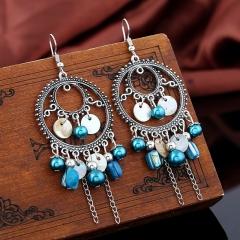 Retro Style Circular Tassel Earrings Earrings blue one size