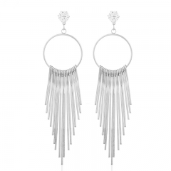 Fashionable Zircon Metal Tassel Earrings Earrings silver one size